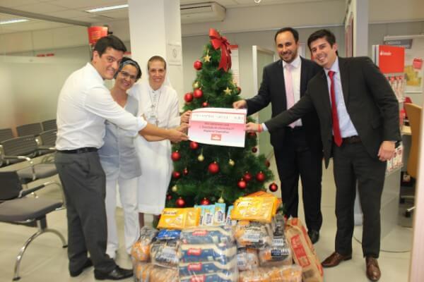 Hospital Santa Marcelina recebe 1 tonelada de alimentos do Banco Santander